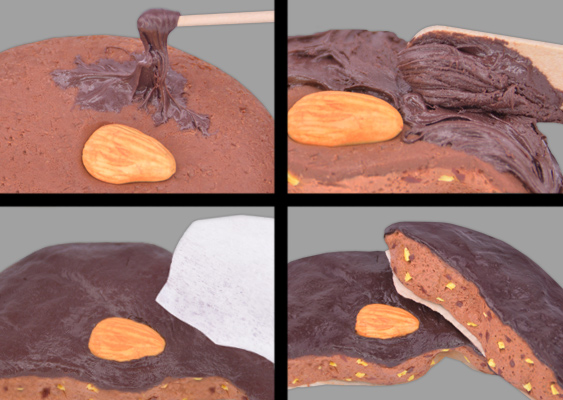 Picture DIY Tutorial: How to make Chocolateglaze out of Polymer Clay. German Gingerbread is smeared with Nutella. Secret recipe by Bavarian Chocolatier Veronika Vetter