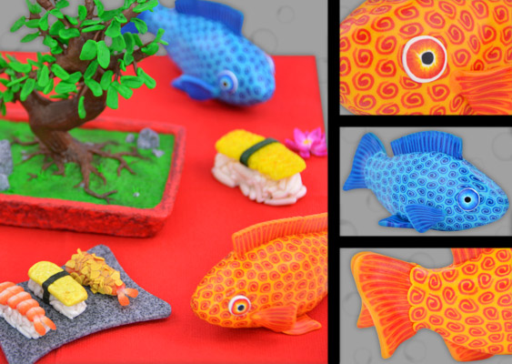 Picture of original Asian Polymer Clay goldfish with Bonsai tree and Sushi. Crafted by Veronika Vetter Bavarian Fine Artist