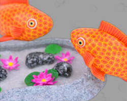 Picture of Cá vàng Wakin Goldfish in garden pond. Made by Veronika Vetter Bavarian Fine Artist