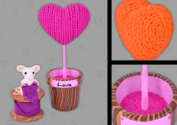 Picture of Polymer Clay Heart with Knit Pattern and Mouse. Valentine's Day Gift for Lovers. Created by Veronika Vetter Fine Artist