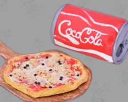 Picture of italian Polymer Clay Pizza (Dollhouse) with Coca Cola. Crafted by Veronika Vetter German Fine Artist