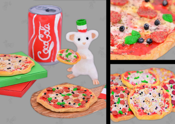 Collage of Polymer Clay Pizza Pepperoni italien Style. Created by Veronika Vetter (DAoCFrEak) German Fine Artist
