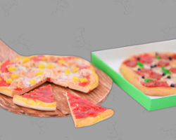 Picture of Dollhouse Pizza pieces in a box for doll collectors