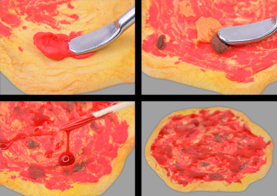 Collage with instructions: Coating tomato sauce on Polymer Clay Pizza. Created by Veronika Vetter German Fine Artist