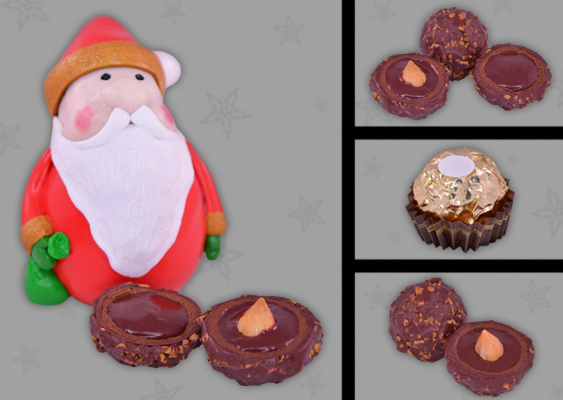 Collage of polymer clay Ferrero Rocher with Santa Clause - made by Veronika Vetter (DAoCFrEak) Fine Artist