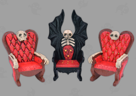 "Picture of Dollhouse Fainting Couch. Horror Furniture out of Polymer Clay. Free Halloween Tutorial by Veronika Vetter ""DAoCFrEak"" Bavarian Fine Artist"